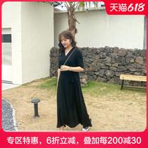 蓝若水大码女装2021夏天新款裙子胖MM简约V领短袖连衣裙显瘦长裙