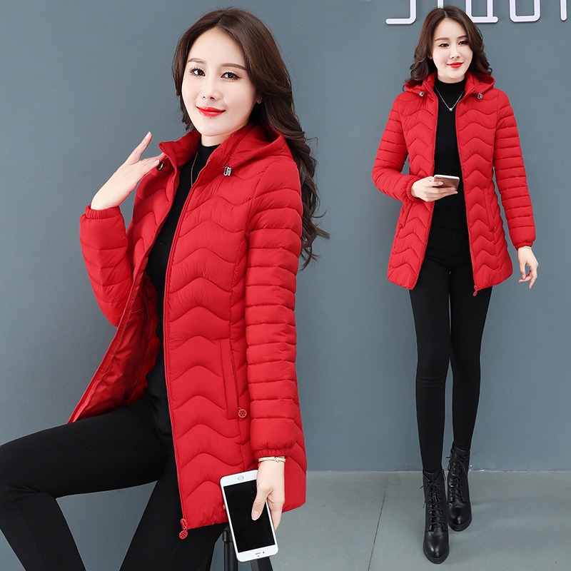 Golden velvet cotton padded jacket womens middle long 2020 winter new Korean version middle-aged and elderly cotton padded jacket thickened cotton padded clothes womens wear