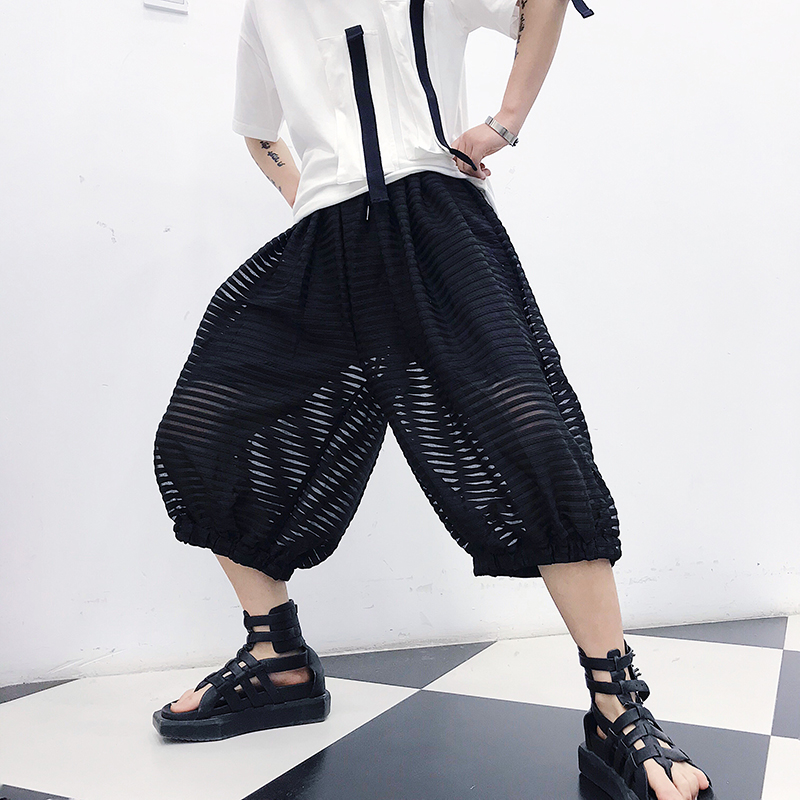 限3000张券男夏季假两件潮流防晒网纱潮灯笼裤