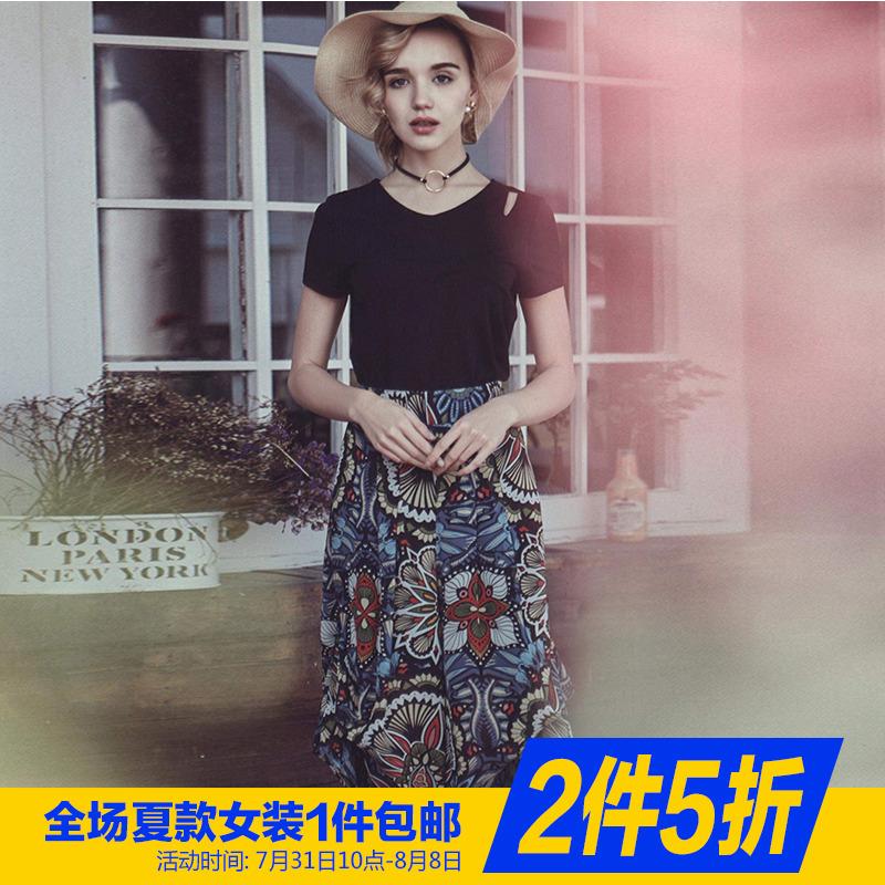 包邮~【巴】短袖上衣印花阔腿裤两件套装 商场同款专柜品牌女装