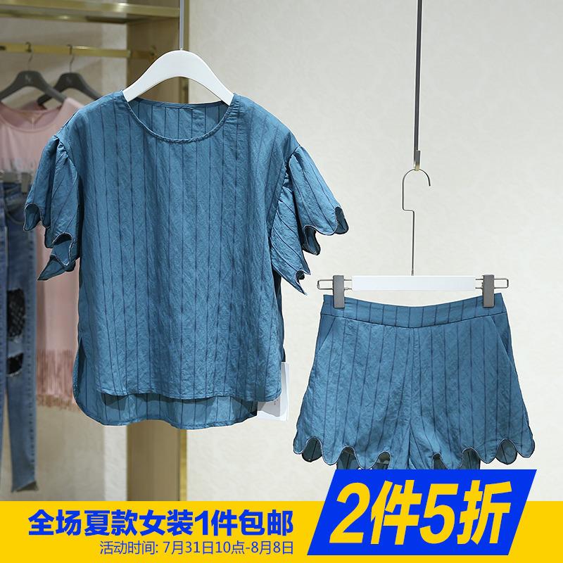 【机】圆领条纹上衣短裤两件套装2018夏装新款品牌专柜撤柜折扣店