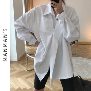 不规则薄款防晒港风复古小众白衬衫