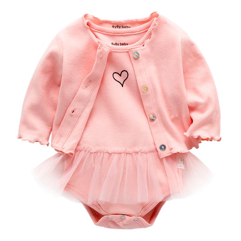 粉色纱裙三角哈衣新生儿公主两件套包屁衣连体衣婴儿女宝宝春爬服