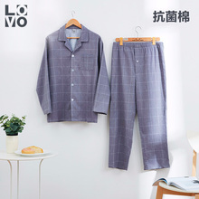 Lovo home textile cotton printed flannelette pure cotton men's Pajama suit casual antibacterial warm four seasons home clothes
