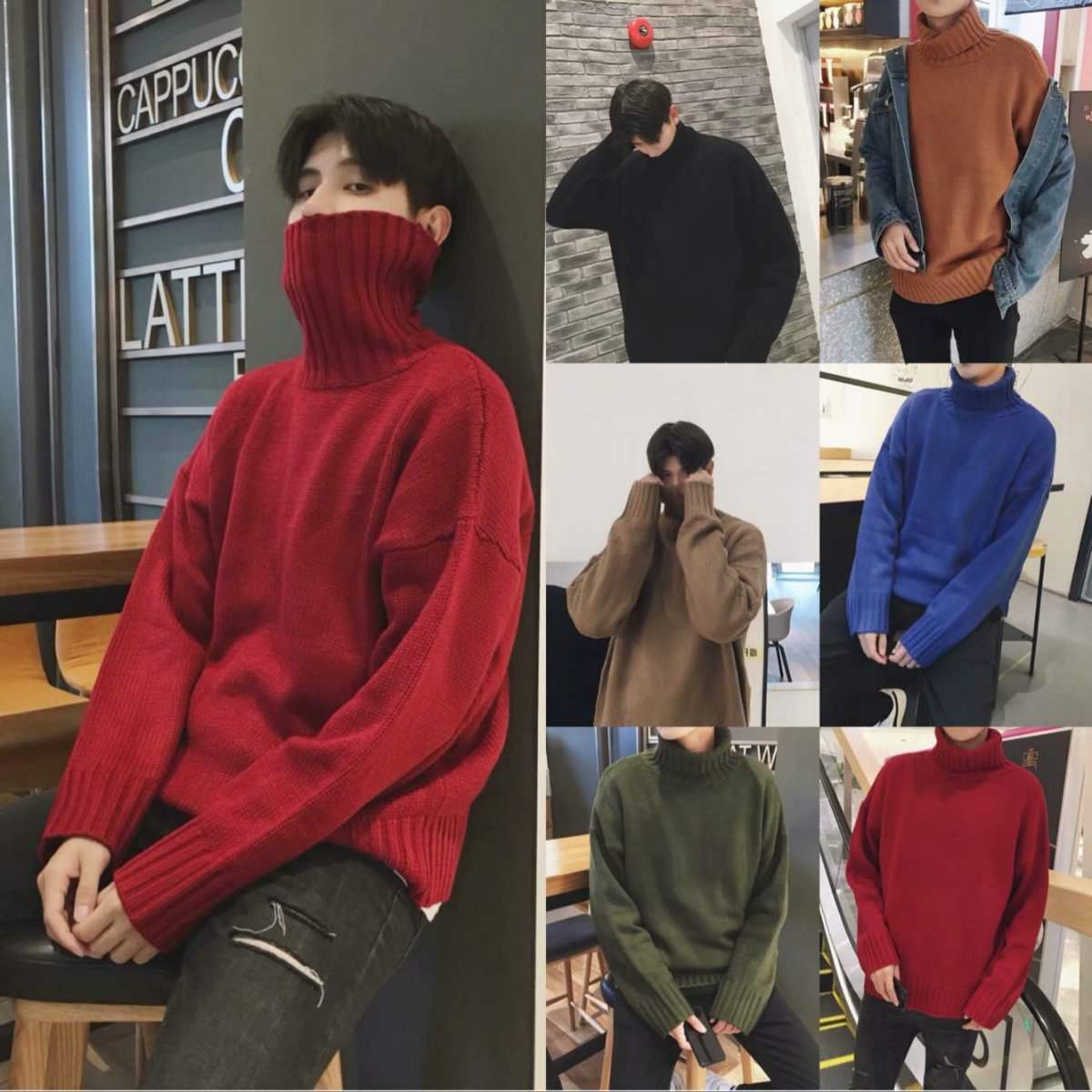 New autumn and winter mens turtleneck sweater youth loose solid color sweater mens student long sleeve coat