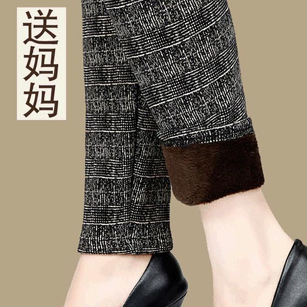 中年女裤冬季女士高腰妈妈加绒加厚打底裤妇女中老年外穿春秋裤子