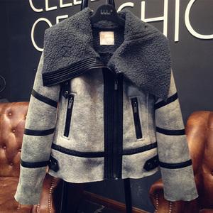 机车服羊羔毛夹克外套女冬季棉服麂皮鹿皮绒短款帅气加厚过年衣服