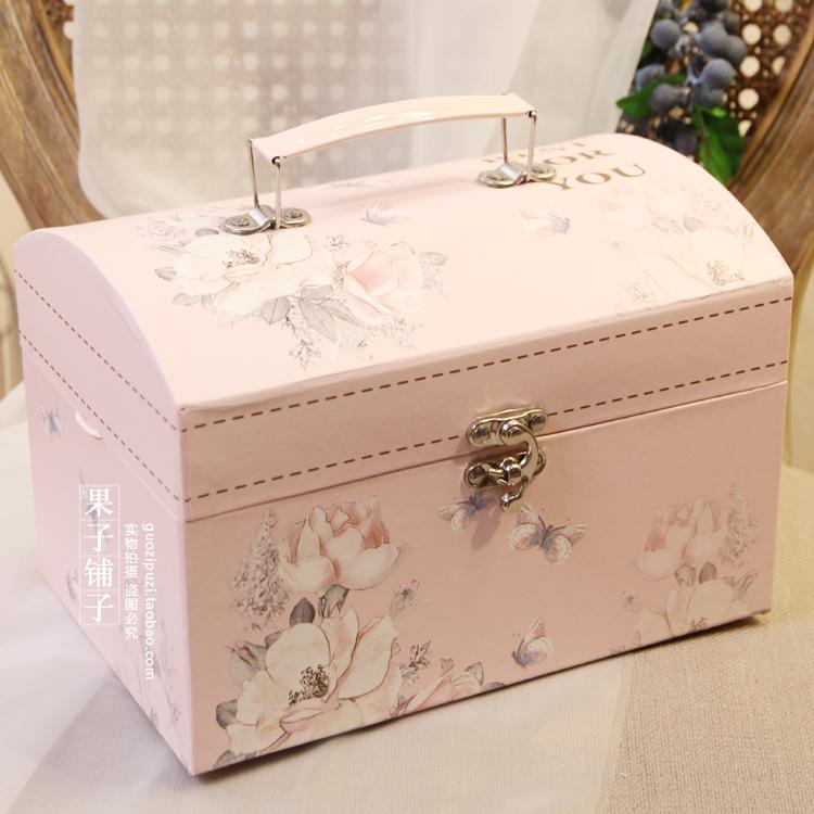 大号生日情人节精美翻盖长方形手提箱礼品盒欧式高档结婚喜糖盒