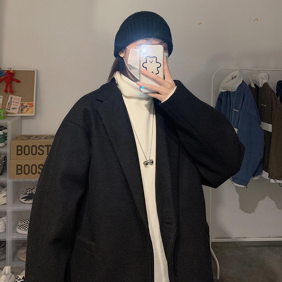 韩版尼料短款毛呢大衣男宽松夹克西装纯色外套XZ406-D9008-P108