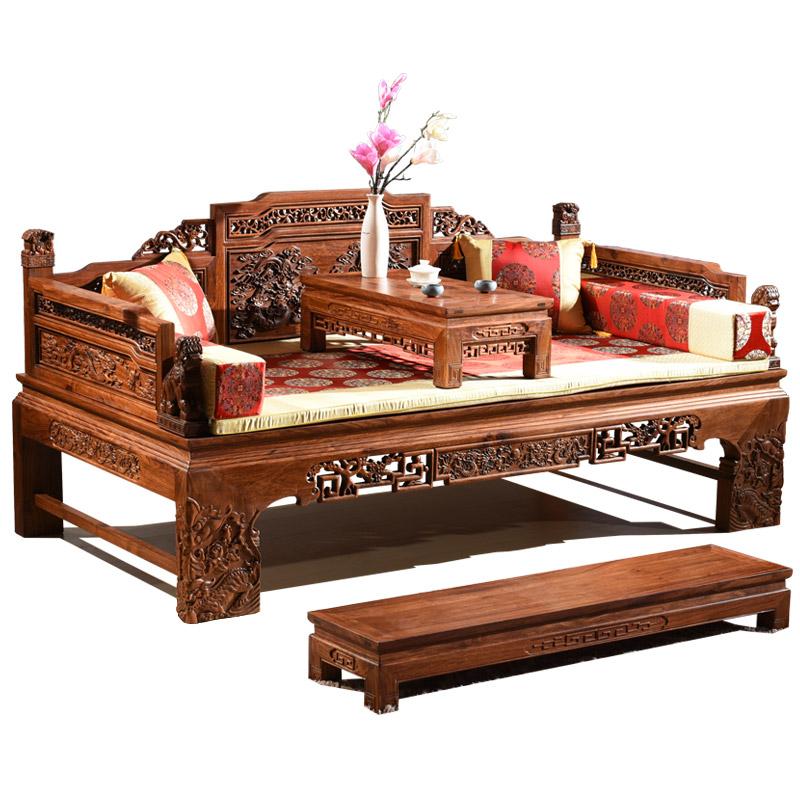 红木罗汉床睡塌刺猬紫檀罗汉床床榻家具罗汉床实木缅甸花梨缅花