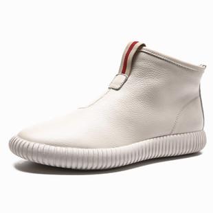 港風ulzzang街拍牛皮女鞋2020新款女靴子短靴平底真皮高幫鞋女夏