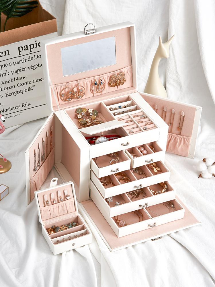 Jewelry box European Princess Korean leather wooden multi-layer drawer jewelry cosmetics storage box