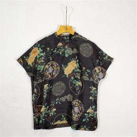 19夏季新品 中国风上衣高端印花香云纱T恤连肩袖中长款盘扣
