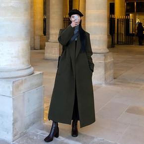 冬季新款韩版毛呢大衣女超长款宽松加厚过膝到脚踝英伦风流行外套