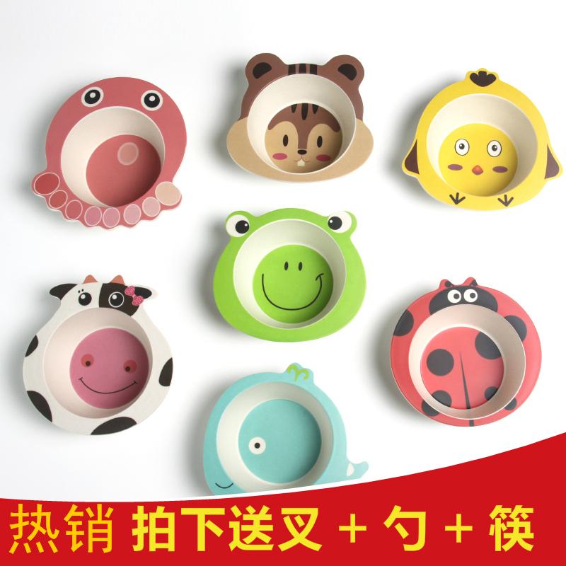 竹纖維兒童餐具家用寶寶防摔碗卡通環保幼兒園輔食飯碗
