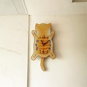 摇尾猫咪卡通儿童超静音挂钟家用客厅卧室可爱时尚创意胖橘时钟表