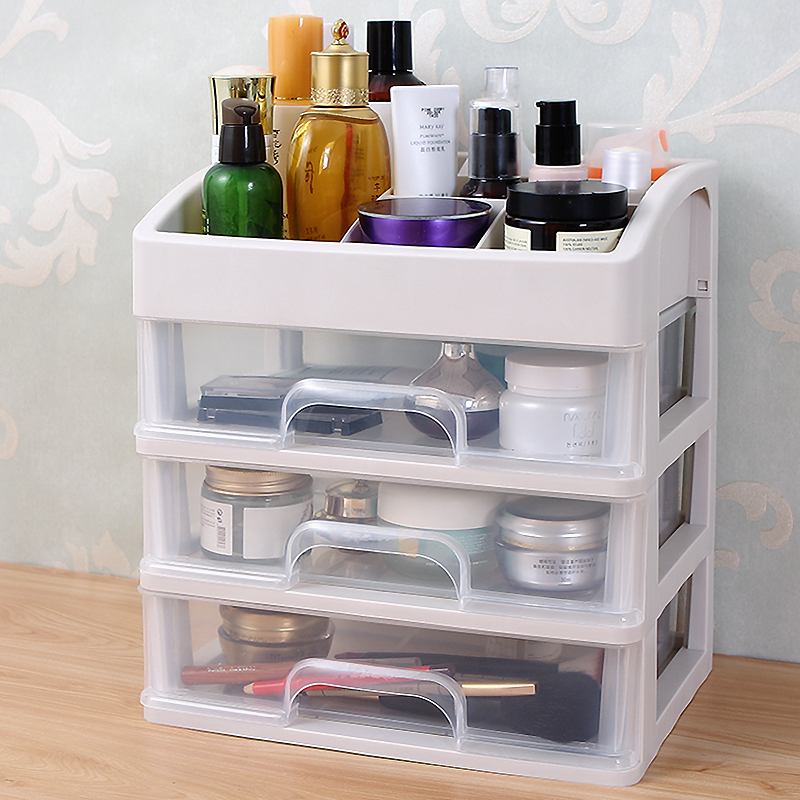 抽屉式遥控器化妆品收纳盒家用桌面梳妆台护肤品口红首饰盒塑料大