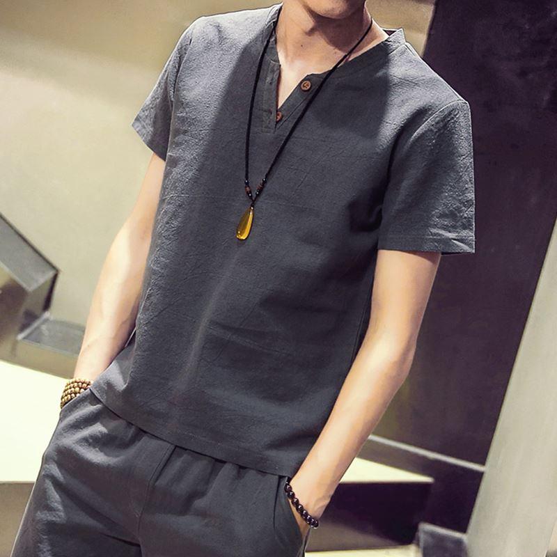 2018夏季新款V領亞麻短袖T恤上衣男士加肥大碼白色體恤韓版潮男裝