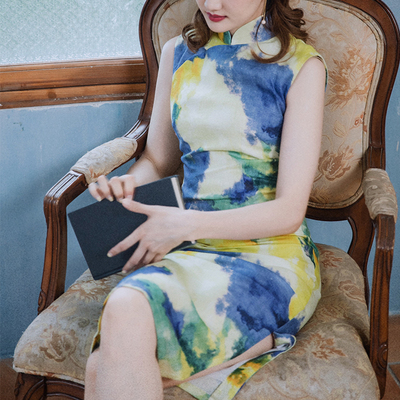 Retro 60s Hong Kong workers vintage style old-fashioned Dong Yi sleeveless daily linen cheongsam dress female painting and dyeing