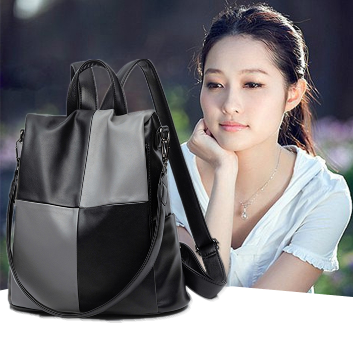 Color contrast backpack girl 2020 new fashion Korean version versatile anti theft soft leather schoolbag large capacity backpack woman