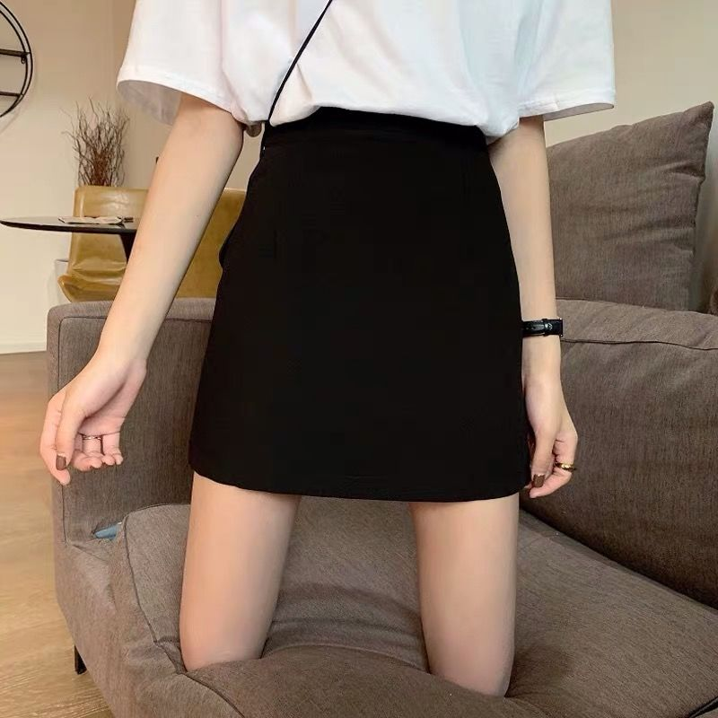 短裙女春夏季2021新款西装包臀a字裙黑色高腰职业工装半身裙毛呢