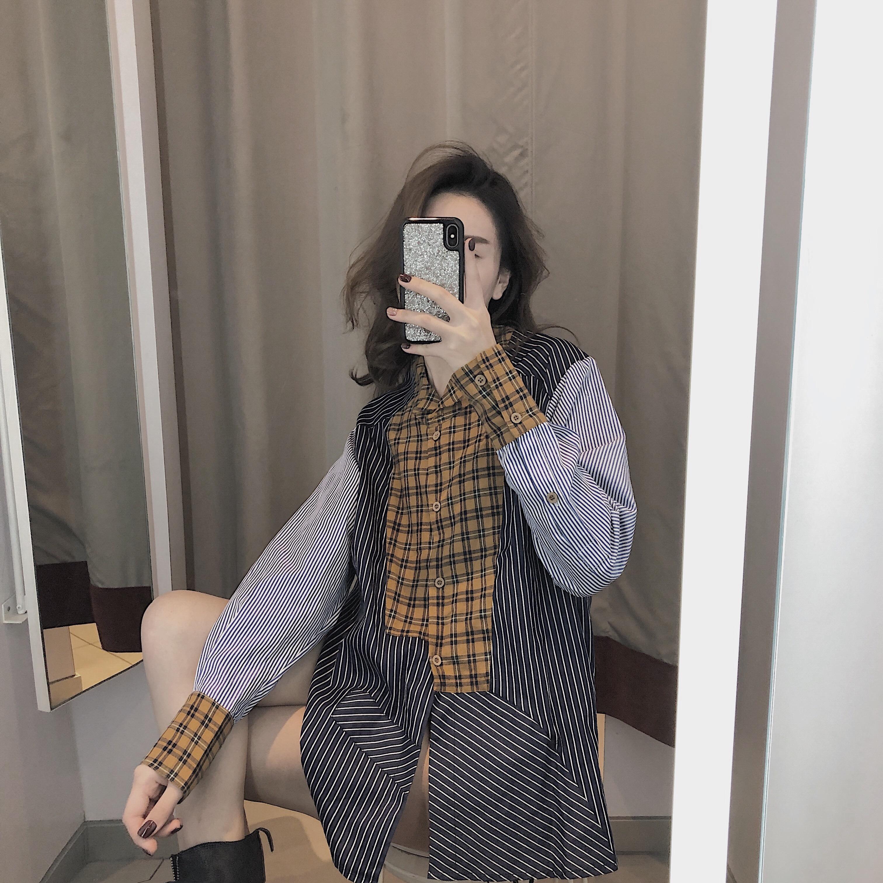 假一赔三衬衫2019年流行复古女设计感连衣裙