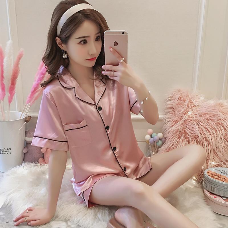 睡衣女夏季冰丝短袖韩版清新可爱真丝绸两件套宽松胖mm200斤可穿