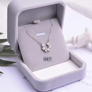 S925纯银U型吊坠项链满钻简约马蹄形锁骨链时尚气质百搭配饰礼物