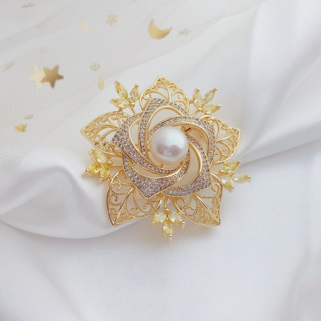 淡水珍珠饰品 精工镶嵌满锆系列玫瑰人生成品金色胸针 珠宝胸饰女