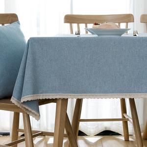 北欧布艺桌布棉麻小清新餐桌布现代简约长方形书桌蓝色茶几布花边