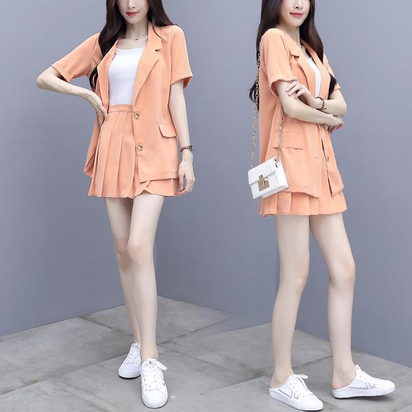TS17175#夏装新款短袖小西装套装裙