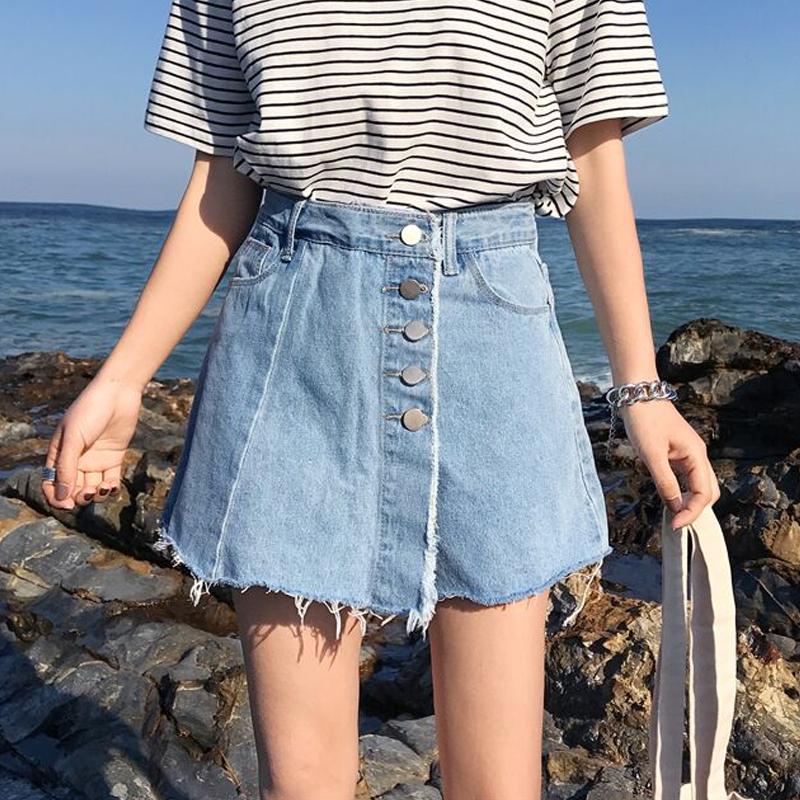 破洞牛仔短裤女夏韩版学生2018新款加肥加大码宽松显瘦阔腿热裤裙