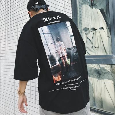 潮叁ANW Alive From夏季日系空灵少女T国潮牌男女情侣宽松短袖t恤