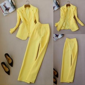 春季职业女裤新款套装修身长袖OL西服外套高腰阔腿长裤韩版两件套