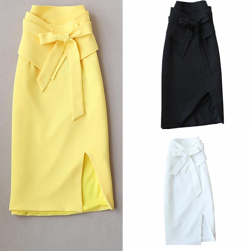 夏装新款收腹腰封显瘦韩版中长款过膝修身半身裙OL简约工装裙