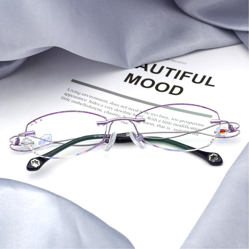 无框眼镜女近视钻石切边眼镜 眼镜架 眼镜框女 含镜片成品小圆脸