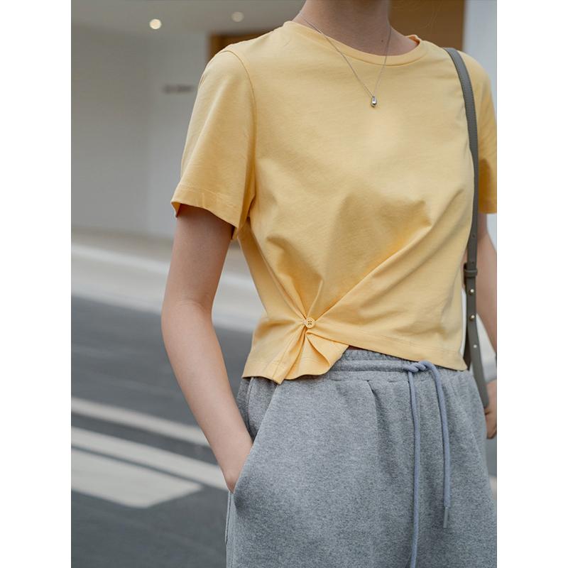 哈果超人 纯棉短袖t恤女短款韩版腰边纽扣宽松圆领纯色半袖上衣