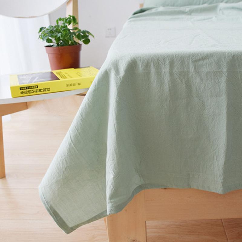 全棉单人双人纯色简约特价处理日系水洗棉床单床笠