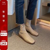 马丁靴女夏季薄款网红瘦瘦靴弹力靴中跟粗跟百搭白色短靴米小糯