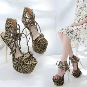 超高跟鞋17CM夏季恨天高女鞋夜店性感细跟防水台脚环绑带豹纹凉鞋