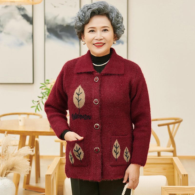 Autumn hot sale old woman mothers coat sweater cardigan top knitted loose and thickened oversized Lapel embroidery