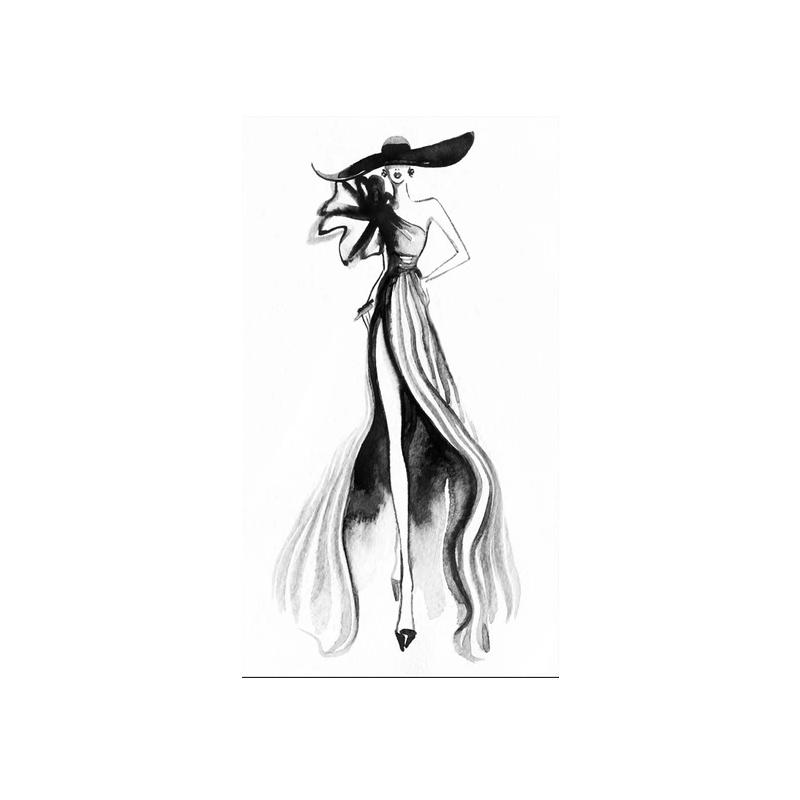 女装服装店装饰画背景墙壁画试衣间时尚创意素描芭蕾舞女孩挂画