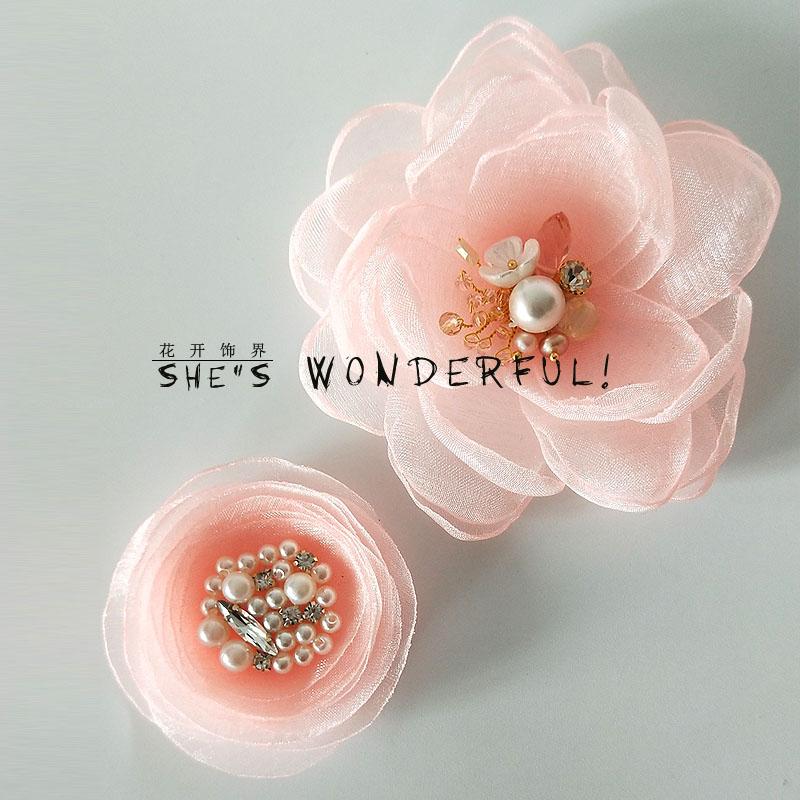 韩国布艺花朵胸针甜美少女心粉色水晶珍珠吸铁石胸花裙子装饰别针