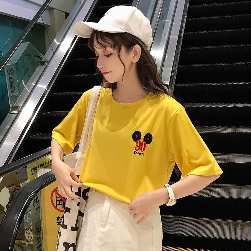 【少量抢购 随时下架】字母刺绣宽松短袖T上衣大码显瘦!