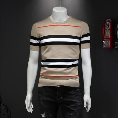 2019秋季新品男士短袖毛衣 條紋針織打底衫 D307 3312 P78