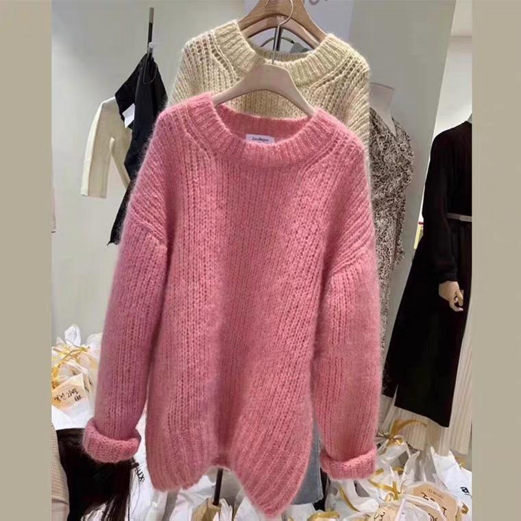 粉色套頭粗毛衣女寬松外穿秋冬復古日系慵懶風上衣針織毛線衣加厚