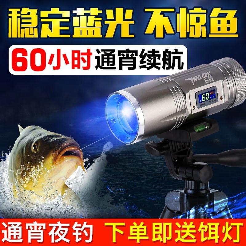 超亮强光夜光夜钓灯钓鱼灯大功率紫光氙气蓝光电筒w渔具用品1000