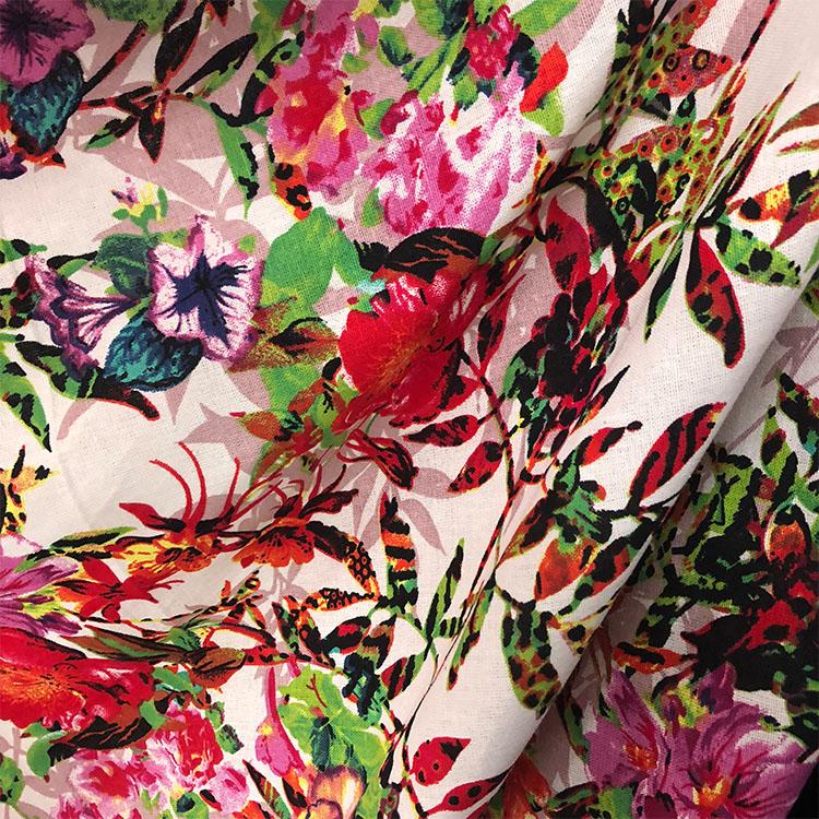 法国客供复古数码印花色文艺范纯亚麻布料时装春夏进口连衣裙面料