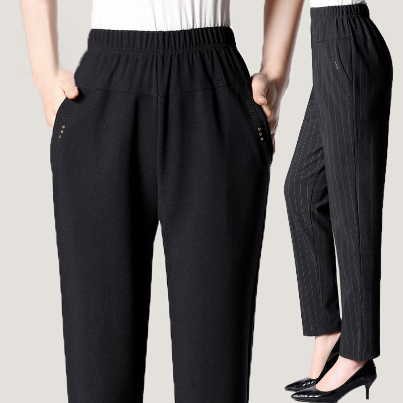 Moms high waist commuter striped pants 2021 spring and Autumn New Pants Large middle-aged and elderly womens straight pants
