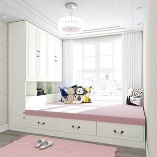 ins榻榻米现代简约书柜衣柜一体床儿童收纳储物床小户型定制
